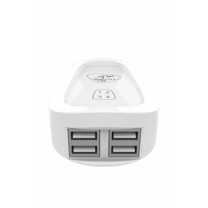Chargeur mural portable - 4 ports USB
