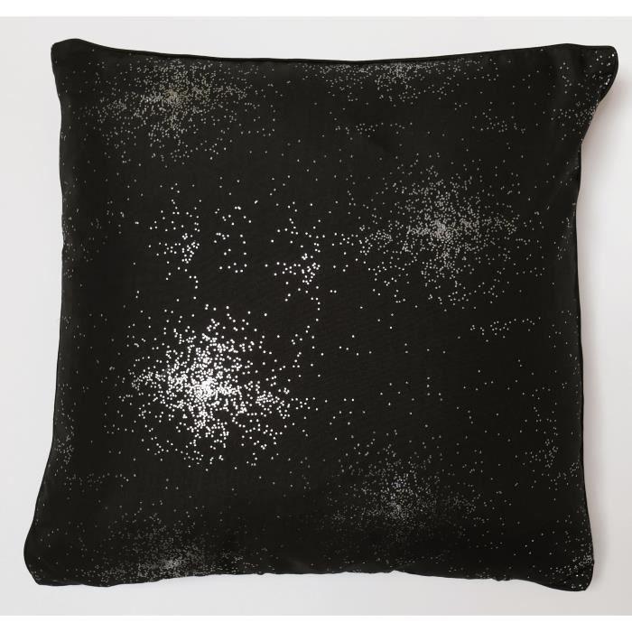 SOLEIL D'OCRE Coussin impression argent Strass 40x40 cm noir