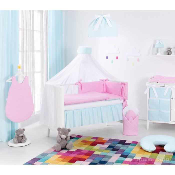4f332d02ce306 Set 13 pièces parure linge de lit bébé 60x 120cm turquoise et rose ...