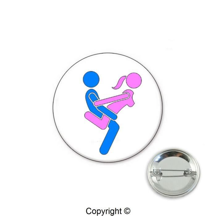 Badge kamasutra position 2 (Multicolore - Badge 32mm)
