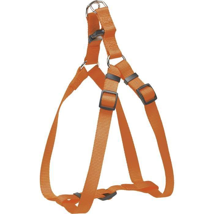 Chapuis Sellerie Harnais Réglable Pour Chien - Sangle Nylon Orange Largeur 20 Mm Dimensions 50-70 Cm Taille M