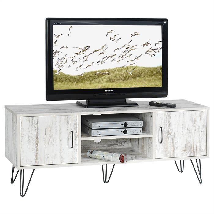 Meuble tv metal et bois achat vente meuble tv metal et for Meuble banc tv design