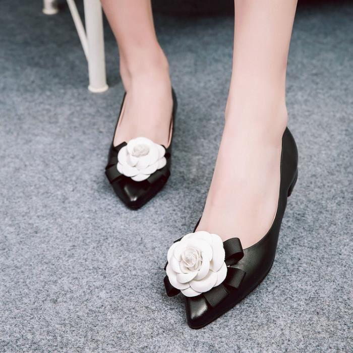 ballerine-Pure Color Low Heel Heelpais de femmes fleurs Ballerines
