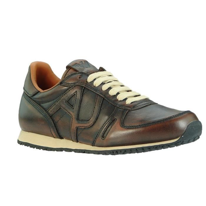 Armani Jeans luxe baskets en cuir brun Sneaker Chaussures Homme Brun ... 9f20cc93653