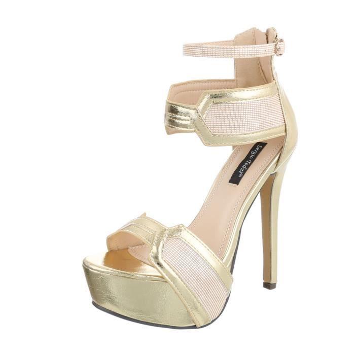 Chaussures femme sandale à talons hauts Plateau High Heels or 37