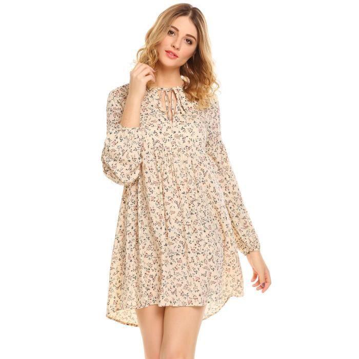 robe plissé floral à manches courtes