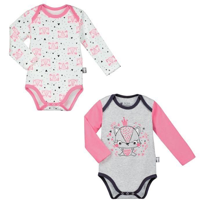 9f130a4fd5297 Lot de 2 bodies manches longues bébé fille Petite Reine - Taille - 36 mois  (98 cm)