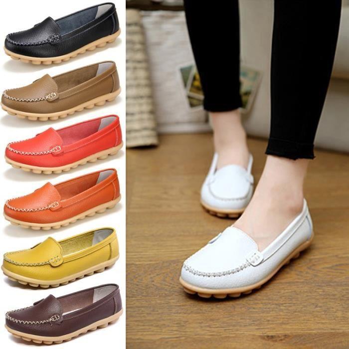 ballerines les sur confortable femme Casual Slip véritable Mode cuir  Mocassins Femmes chaussures en Flat été ... 1b006c642316