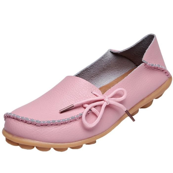 Solide Couleur Casual Mocassins Chaussures Mocassins en cuir I5G2I Taille-37