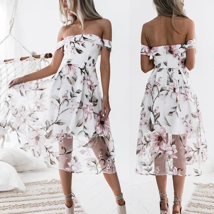 Napoulen®Femmes été hors épaule floral imprimé long maxi robe populaire Rose XXP71222362PK
