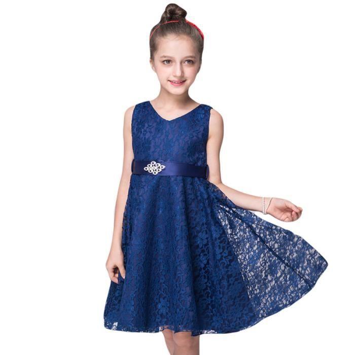 3dbaede3a3128 Robe Fille Mariage et Cérémonie Robe Demoiselle Enfant 4-10 ans Bleu ...