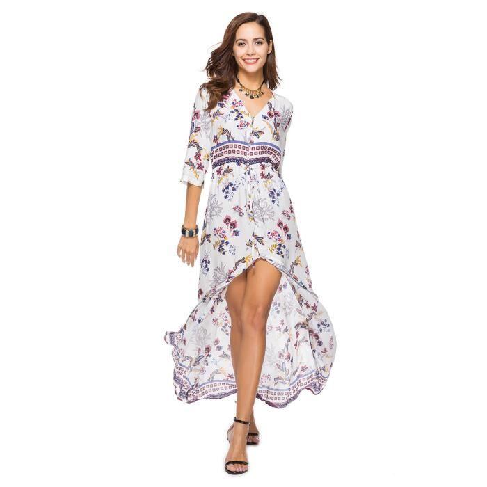wowa femmes robe boh me maxi longue floral imprim v cou manches court robe de plage robe. Black Bedroom Furniture Sets. Home Design Ideas