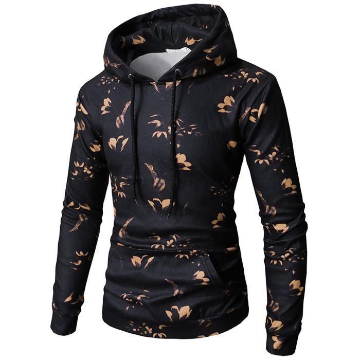 Sweat-shirt Homme fleur À Capuche Pull Manches Longues Pullover Imprimé  Hoodie 32a811f6b48c