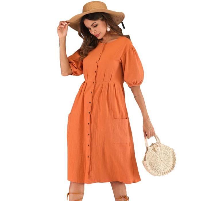 bonne qualité livraison gratuite achats Femme Robe été Couleur Unie Longue Jupe Mode Lâche Casual Femmes Vêtement  Chic Plage Vacances Madame Robe