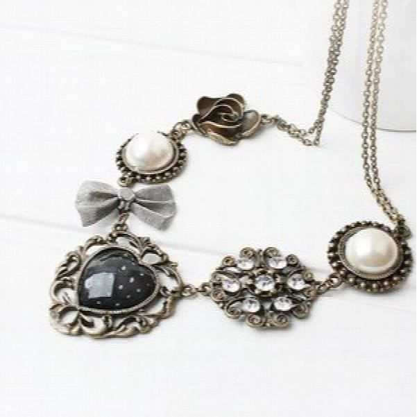 Collection Vintage Femmes en alliage Gem perle multicolore Pendentif collier pourH49KG