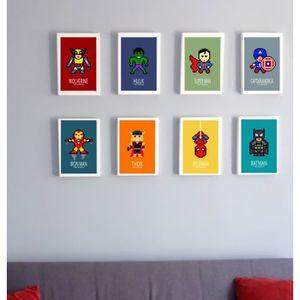 AFFICHE - POSTER 8 affiches superheros, Batman, captain america, wo
