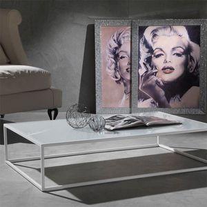 TABLE BASSE Table basse blanche en verre et acier PETRA  Optio