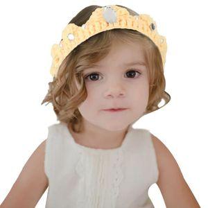 TÊTE À COIFFER EOZY Bandeau Tricoté Couronne Strass Toddler Hairw