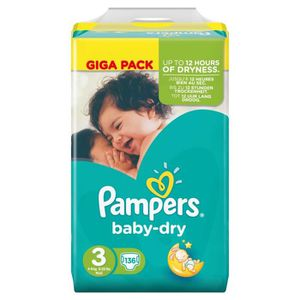 COUCHE Pampers Baby Dry Taille 3 Midi 4-9 kg Giga Pack 13