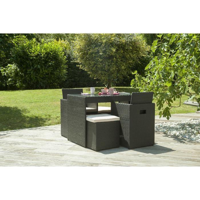 En résine tressée - Table + 2 fauteuils + 2 pouf - Coloris : noir.SALON DE JARDIN - ENSEMBLE TABLE CHAISE FAUTEUIL DE JARDIN