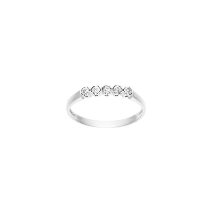 DIAMOND LANE Bague Or Blanc 375° et Diamants Femme
