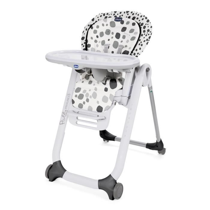 CHICCO Chaise Haute Polly Progres5 4 Roues - Anthracite - Dès 6 mois