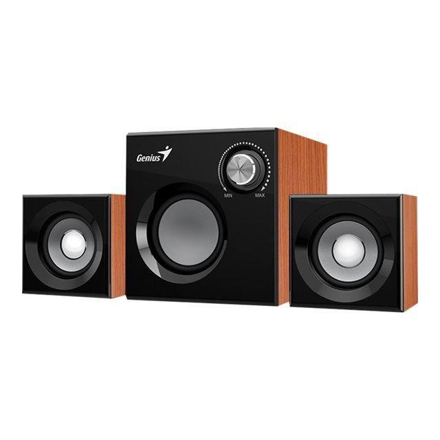 GENIUS Haut parleurs HP SP HF 160 - USB - 8 Watts - Marron - PC / Mac / Smartphone / Tablette / Lecteur MP3 et CD