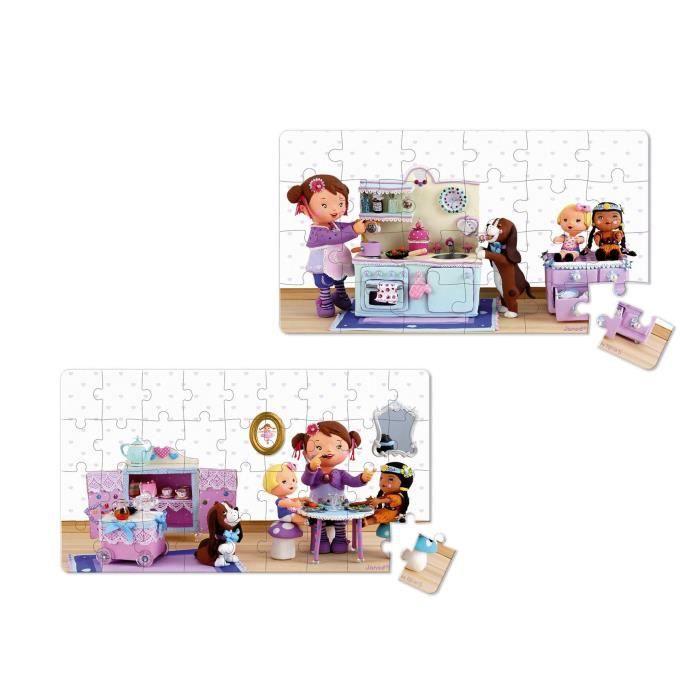 JANOD Lot de 2 Puzzles Lovely ''Lola joue à la dînette''