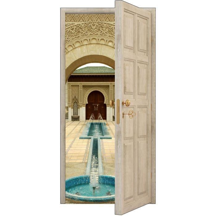 sticker porte trompe l oeil fontaine orientale achat vente stickers soldes d s le 9. Black Bedroom Furniture Sets. Home Design Ideas