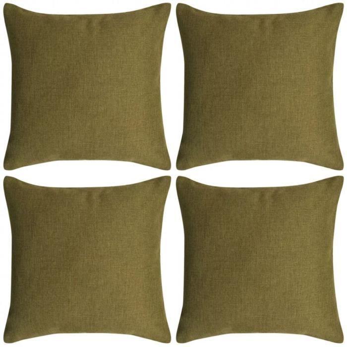 Housse de coussin 80 x 80 cm aspect lin Vert (4 pièces)   Achat