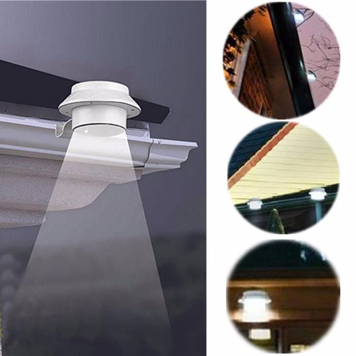 Lampe extérieur à énergie solaire 3 LED pour gouttière-clôture ...