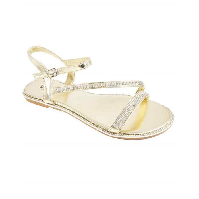 sandale avec strass nu pied