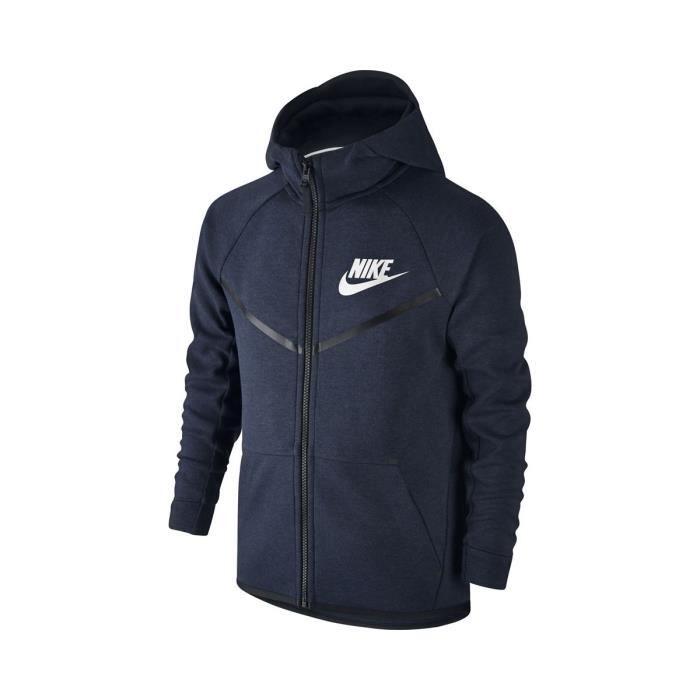 Sweat Nike Tech Fleece Windrunner Junior - 804730-473 Bleu Bleu ... fed423a800ec