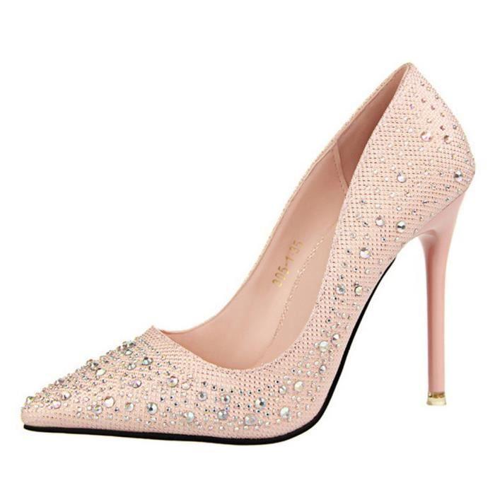 7516478cd57db1 Minetom Femme Escarpin Talon Haut Élégant Brillant Strass Stilettos ...