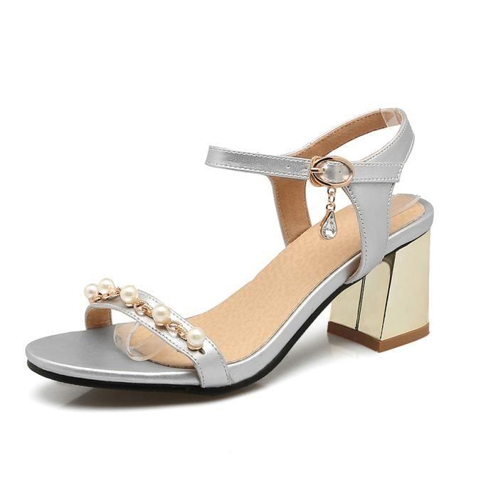 sandales a talon moyen noire