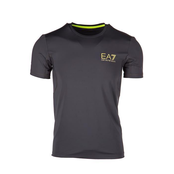 6f18e5b2fc3 T-shirt manches courtes ras du cou homme Emporio Armani EA7 Gris ...