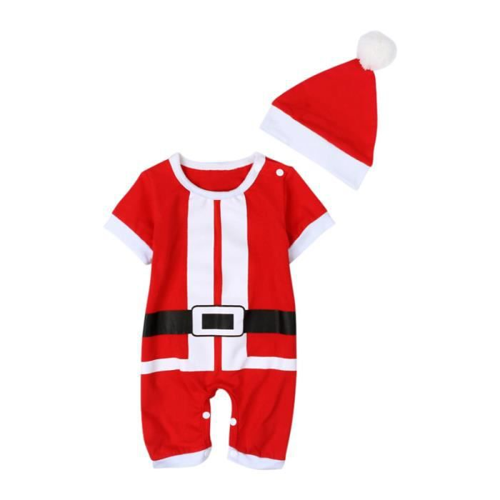 0dad8c20054c0 0-24 Mois Tenue Père Noël Unisexe Bébés Grenouillère Combinaison Une Seule  Pièce Barboteuse Manches Courte Avec Chapeau