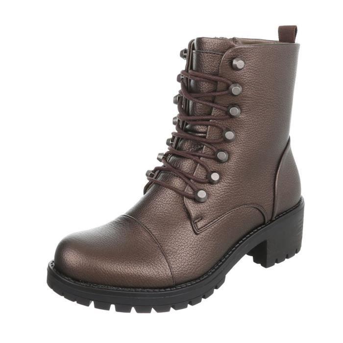 Bottine élégante  High Heels talon bloc   Bottes à lacets   Bottes à glissière   Ankle Boots   Chaussures femme Bottines  Bottes