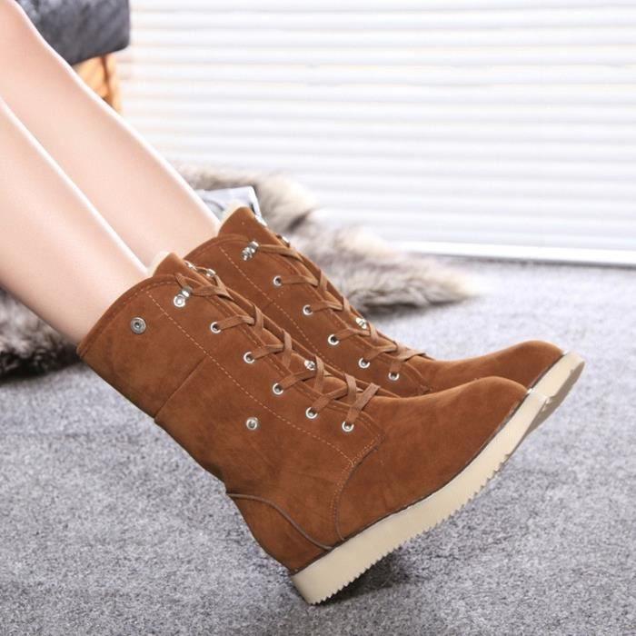 Neige Chaud Rouge jaune Suede Femmes gris Cheville Hiver Sandales Chaussures paissir kaki Femmes noir Casual Daim Bottes Chevill ROw006gxn