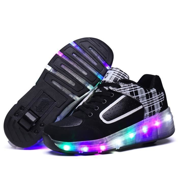 Baskets Enfants LED Chaussures Lumineuse à Roulettes Gar?ons Filles Sneakers Avec Roues Automatique De Patinage Chaussures.