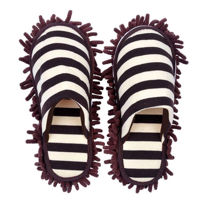 57c0c2a4e4303 CHAUSSON - PANTOUFLE Une paire de Chaussure Serpillères, en Chenille, ...