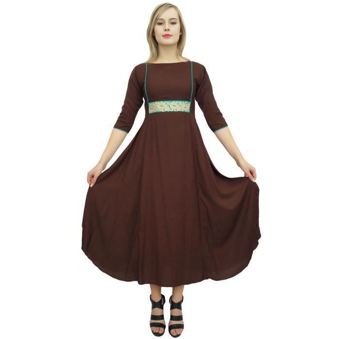 d03afc1d92c longue robe maxi des femmes bimba zari brodé robes de vêtements de fête de  rayonne brun