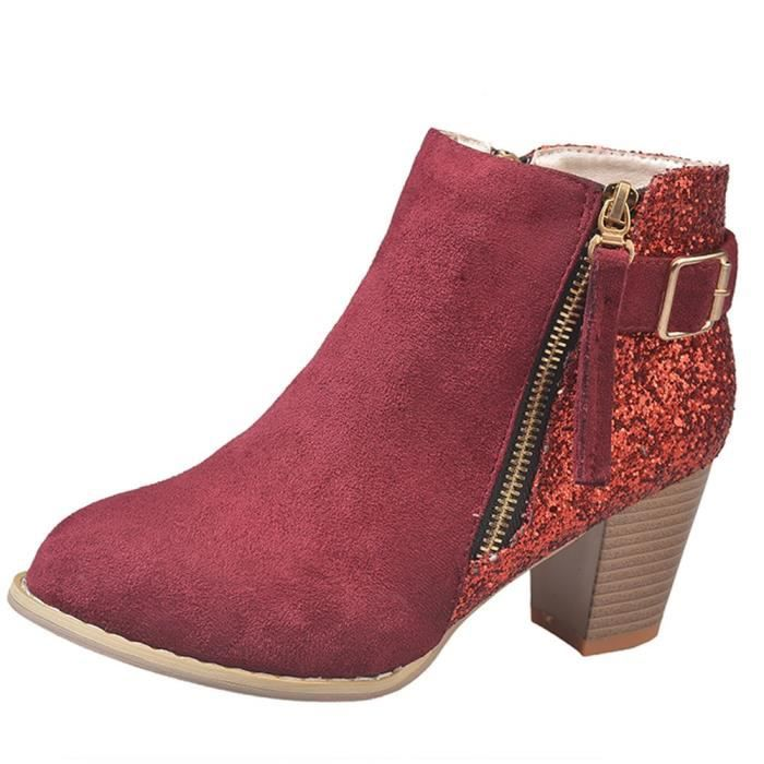 Ankle Boots Colors Round Toe Mixed Thick Side Fashion Femmes High 3709 Vin xz Du Zipper qIUwCg