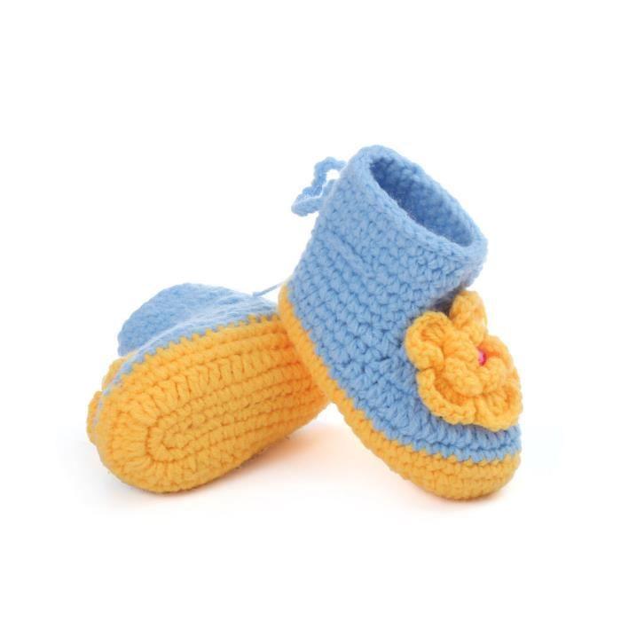 Chaussures Main En top Crochet Bb Bottes Fille bleu Tricot Haut La Hautes fxqBZ1wZv