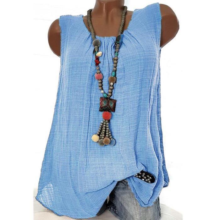 Size Femmes shirt T Plus Lin Chemisier Gilet Baggy Coton Débardeurs Bleu Manches T ZqxTrUgqw