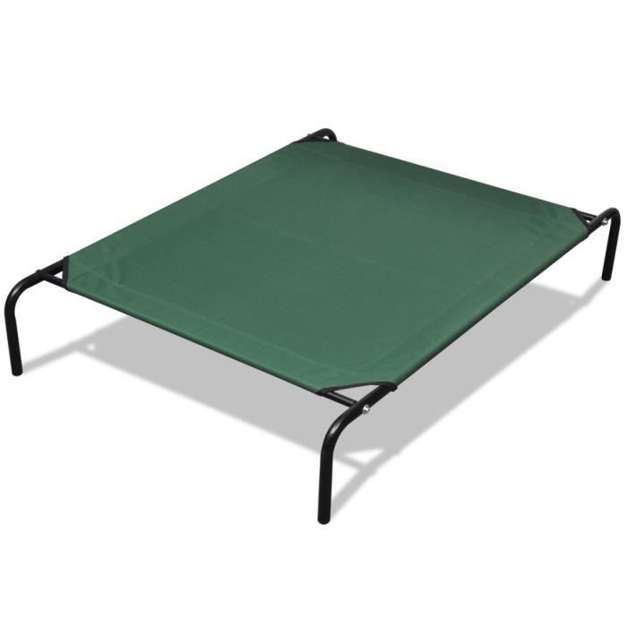 130 X 80 Cm Lit Sureleve Vert Pour Chien Animaux Avec Cadre En Acier
