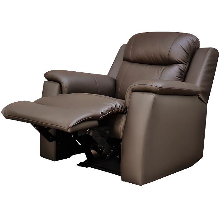 Fauteuil relax EVASION en cuir chocolat Achat Vente fauteuil