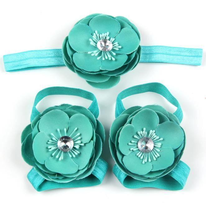Napoulen®3Pcs bébé pieds nus dentelle Chaussures sandales fleurs chaussures ensemble BK-XPP10200509 PyHWtr