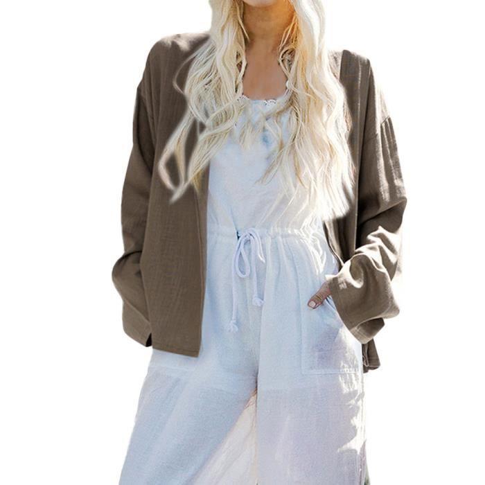 Cardigan Solides En Avant Femmes Spentoper Blazer Longues Manches Ouvert Vrac Manteau Veste Casual 0XUnfYq7