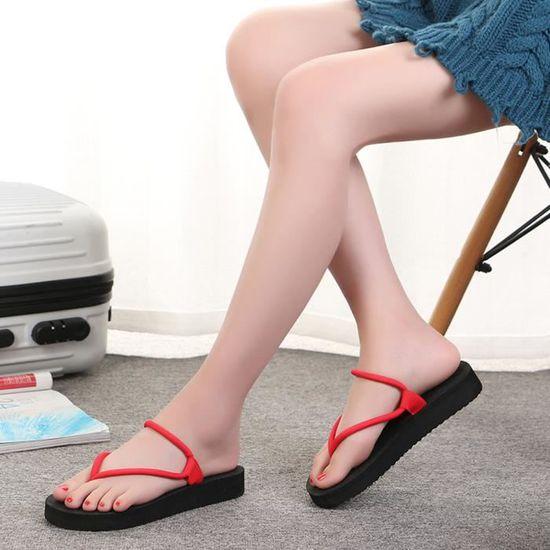 Pantoufle Plates Sandales Solides Pincées Slipsole rouge Chaussures Femmes Tongs LqUpSzMVG